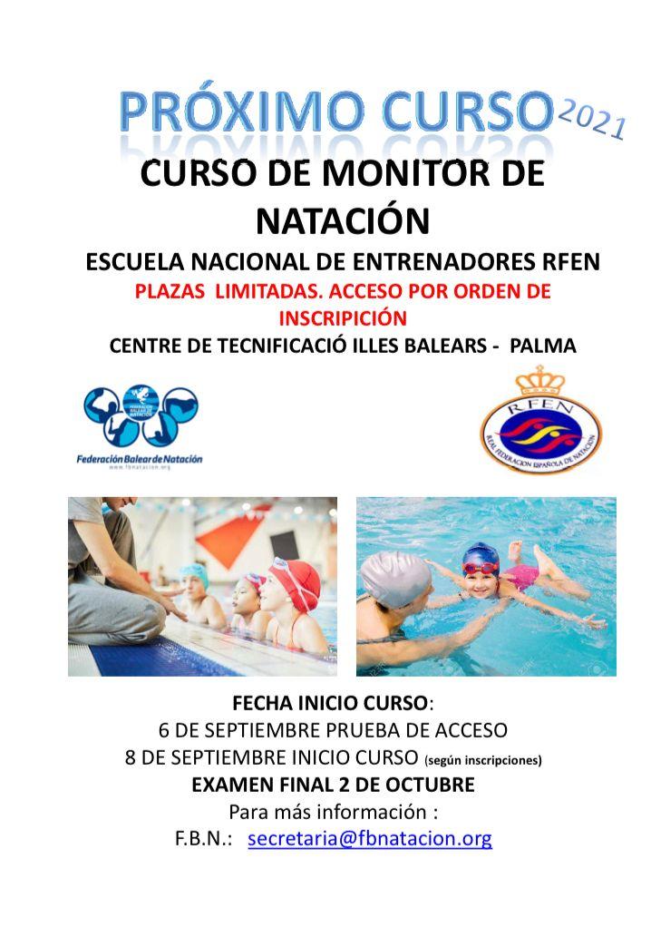 CONVOCATORIA CURSO MONITOR NATACIÓN 09/2021