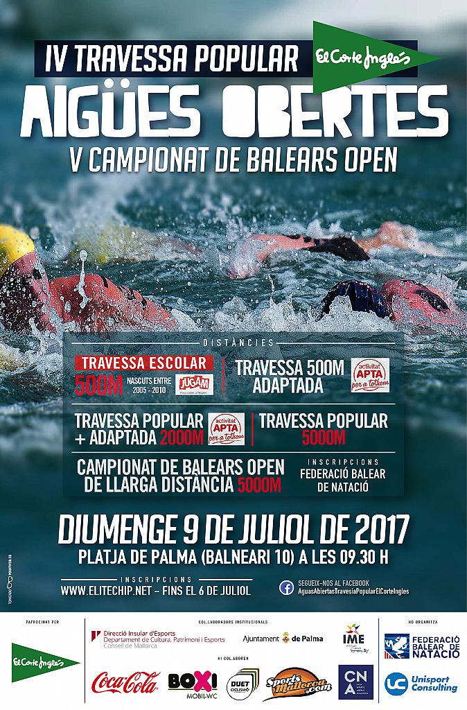 Resultados del campeonato de Baleares de Aguas Abiertas y de las travesías El Corte Inglés - 9 Julio 2017
