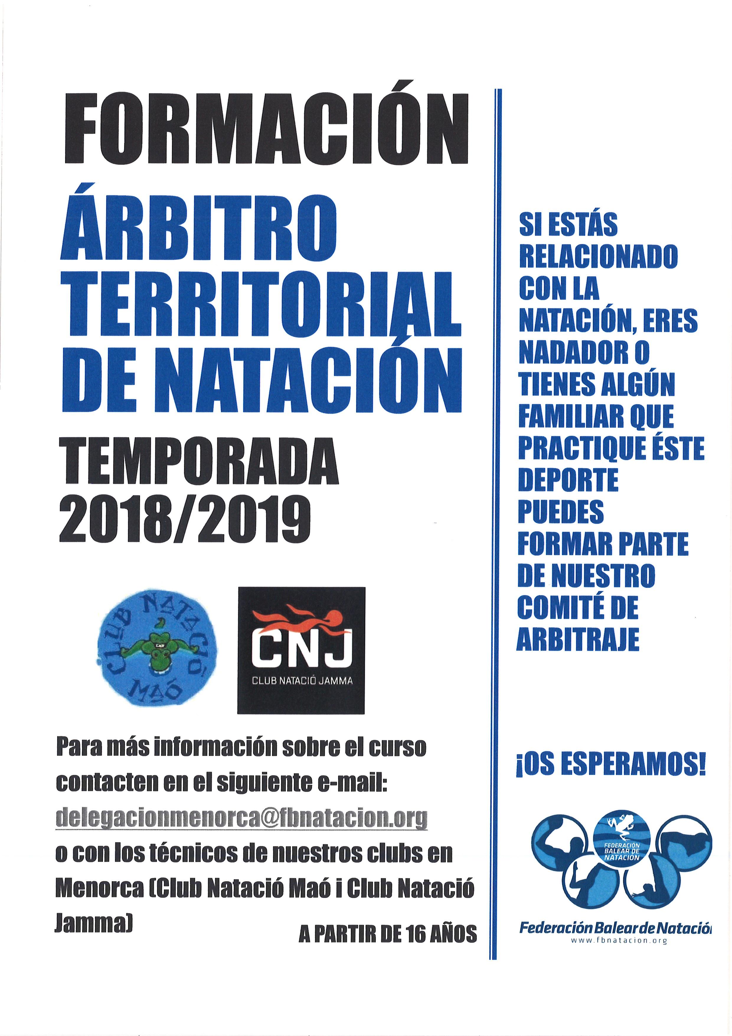 CURSO DE JUEZ TERRITORIAL DE NATACIÓN EN MENORCA