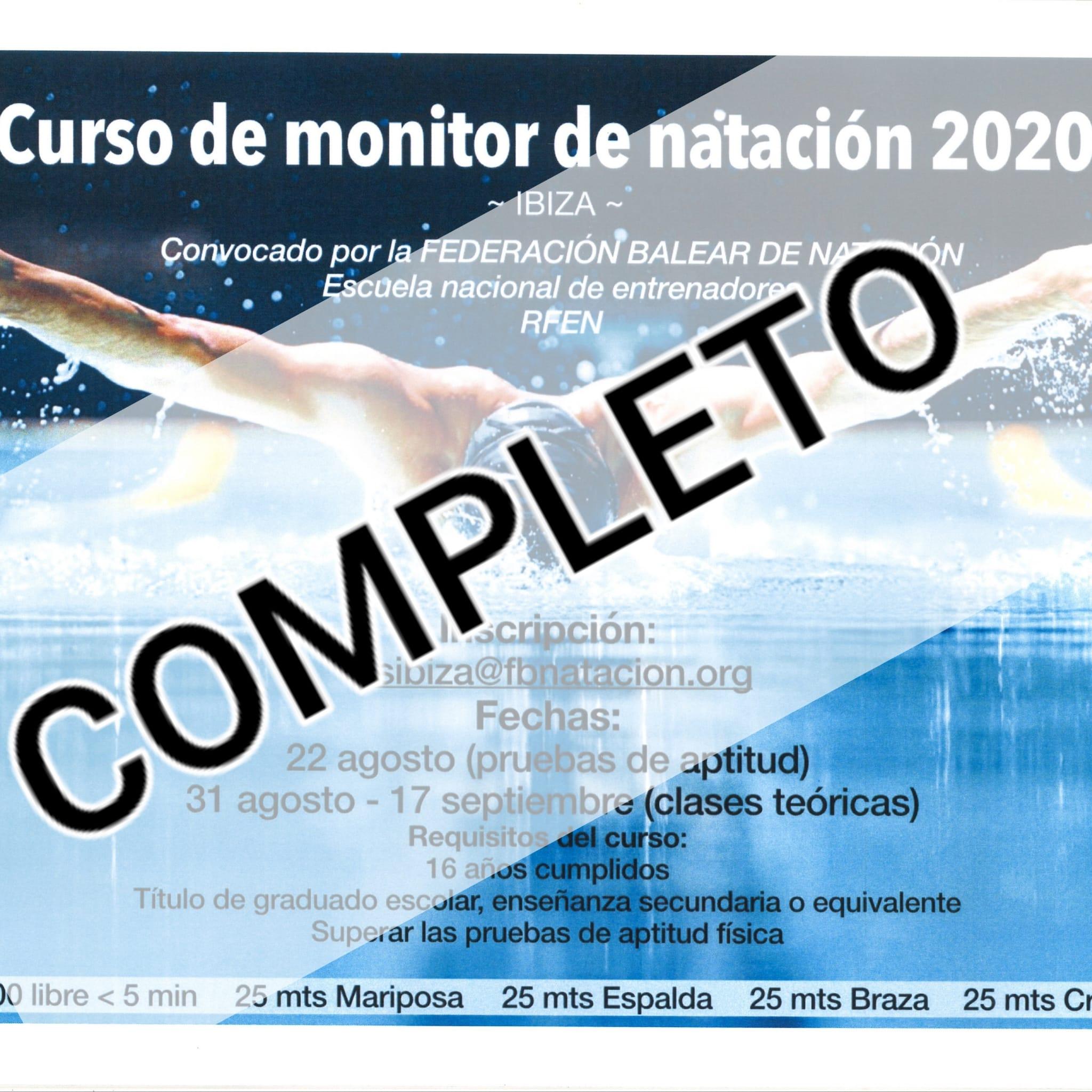 PLAZAS COMPLETAS - CURSO DE MONITOR DE NATACIÓN - EIVISSA